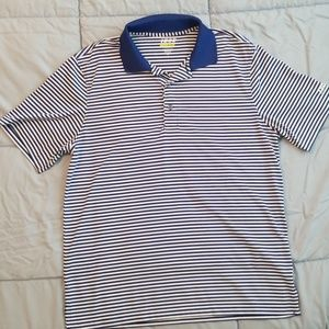 Men's striped blue and white golf polo